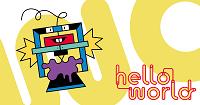 hello world-Schriftzug mit einem stilisierten Bürstenroboter