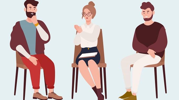 Eine Zeichnung mit drei Menschen, die auf Sessel sitzen.