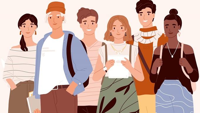 Eine Zeichnung mit 6 jungen Menschen mit Büchern