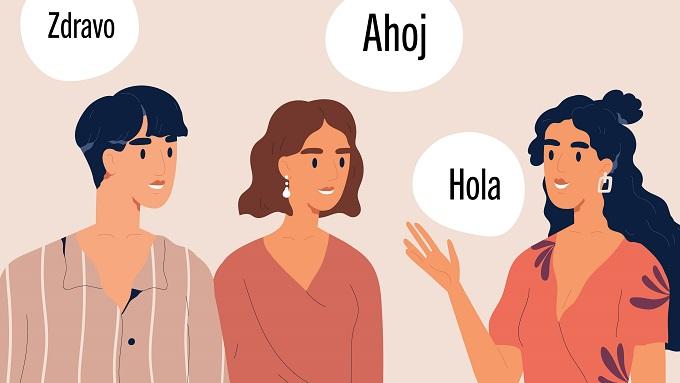 Eine Zeichnung mit drei Menschen mit Sprechblasen, auf denen Hallo in verschiedenen Sprachen steht.