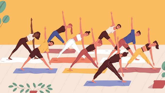 Eine Zeichnung mit 9 Menschen, die Gymnastik machen