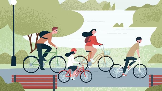 Eine Zeichnung mit einer Familie, die Fahrrad fährt
