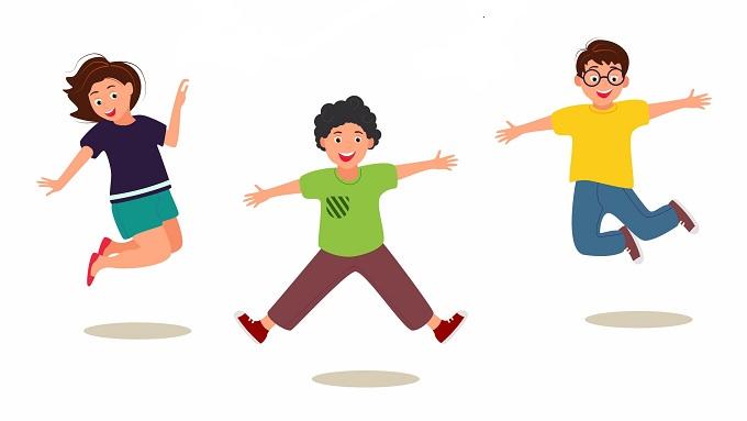 Eine Zeichnung mit hüpfenden Kindern