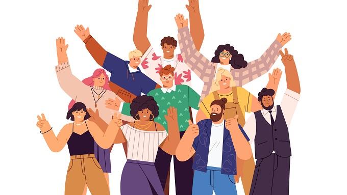 Eine Zeichnung mit 10 Menschen, die erfreut die Arme heben