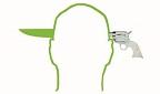 Logo Krimi-Literatur-Festival - Shiloutte eines Kopfes mit angesetztem Revolver rechts und herausragender Messerspitze links