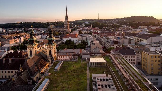Blick auf Dächer von Linz
